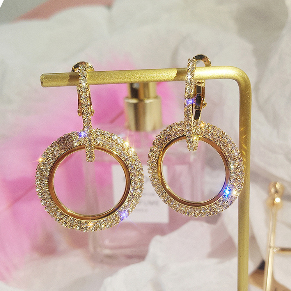 2018 Fashion vintage Round Gold silver pearl hoop earrings for women ...
