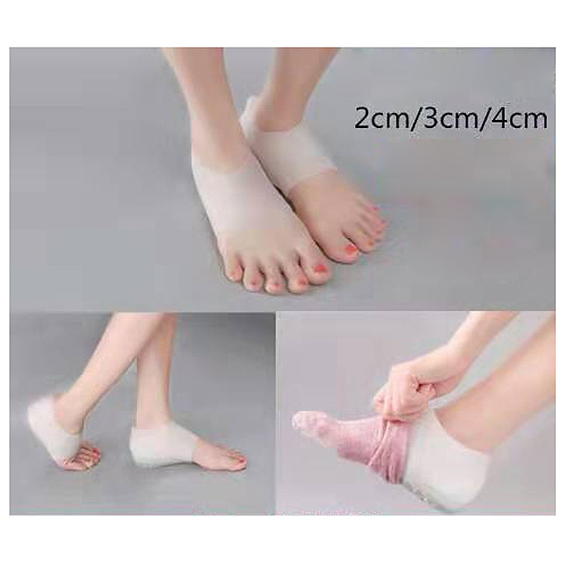 Image 5 - Unisex Invisible height increase socks heel pads insoles silicone  foot massage Adjustable Hard Wearing Insoles 2/3/4cm a pair-in Foot Care Tool from Beauty & Health