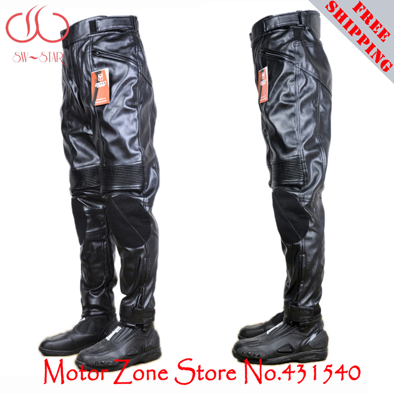 ФОТО DUHAN 100% PU leather Motorcycle Racing pants Jeans pads armor Pants racing trousers riding pants protective gear PD05