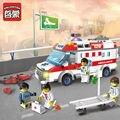 Enfermera médico de primeros auxilios ambulancia bloques de construcción enlighten niños ladrillos educativos mini juguetes compatibles con lego