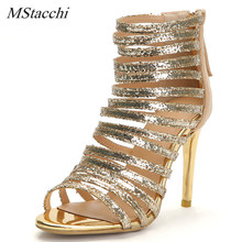 Mstacchi Gold Glitter Sandals Summer High-Heeled Ankle Strap Sandals