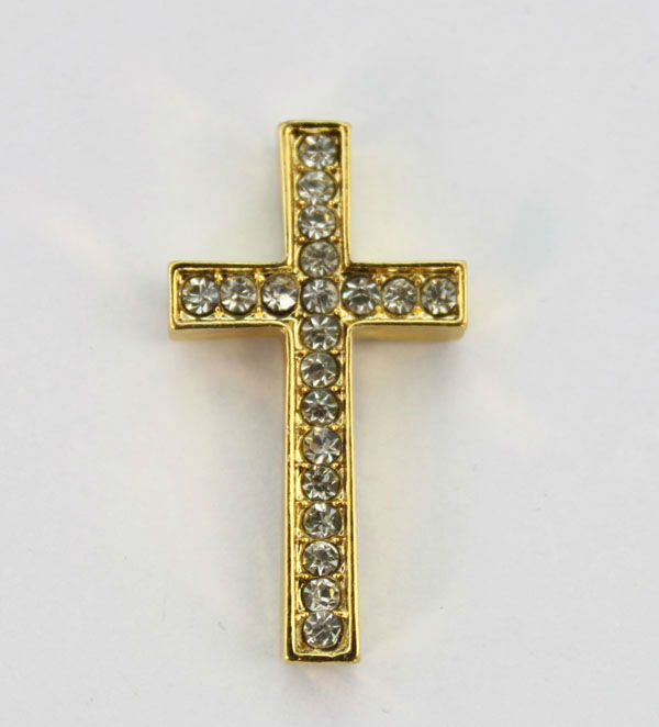 FREE SHIPPING 10PCS Clear Pave Rhinestone Golden Cross Link Connectors   22854 f7f7d72bda53