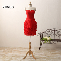 Red Short Cocktail Dresses Sexy Chiffon A Line Pleat Sweetheart Knee Length Party Gowns 100% Real Photos Vestido De Festa