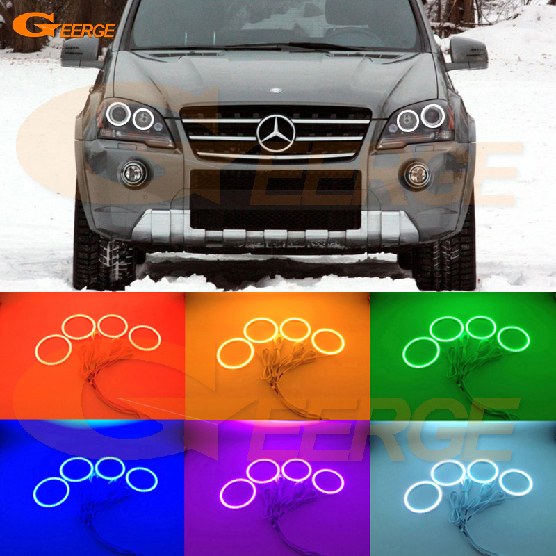For Mercedes-Benz M-Class W164 ML320 ML350 ML450 ML500 ML550 ML63 AMG Excellent Multi-Color Ultra bright RGB LED Angel Eyes kit 10pcs error free led lamp interior light kit for mercedes for mercedes benz m class w163 ml320 ml350 ml430 ml500 ml55 amg 98 05