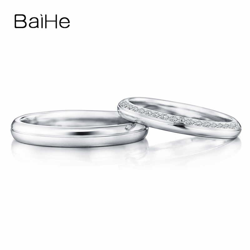 BAIHE Solid 18K White Gold 0.10ct Certified H/SI Round Genuine Natural Diamonds Engagement Women Jewelry Trendy Gift Couple Ring цена