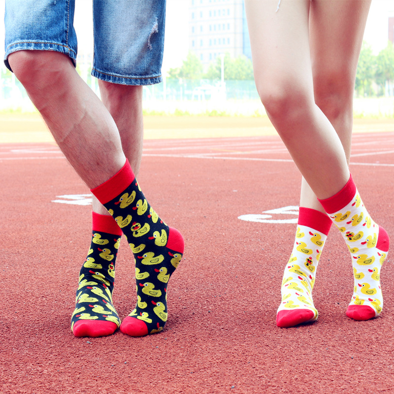 New Men's Funny Pattern Cute Little Yellow Duck Cotton Socks Dress Crew Cool Men And Ladies Crazy Socks Designer Brand Skarpetki