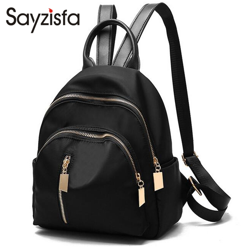 Sayzifa Women New Backpacks Nylon Shoulder Bag 2017 School Bags For Teenage Girls Rucksack Student Backpack Female mochila T347 2016new rucksack luxury backpack youth school bags for girls genuine leather black shoulder backpacks women bag mochila feminina