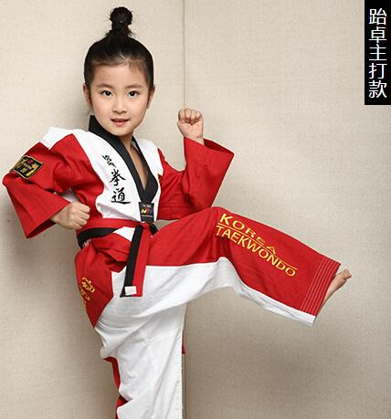 цена на (3C)New high quality Taekwondo dobok TKD cotton & bamboo fiber Uniform WTF series of children Kids Taekwondo Long sleeve clothes