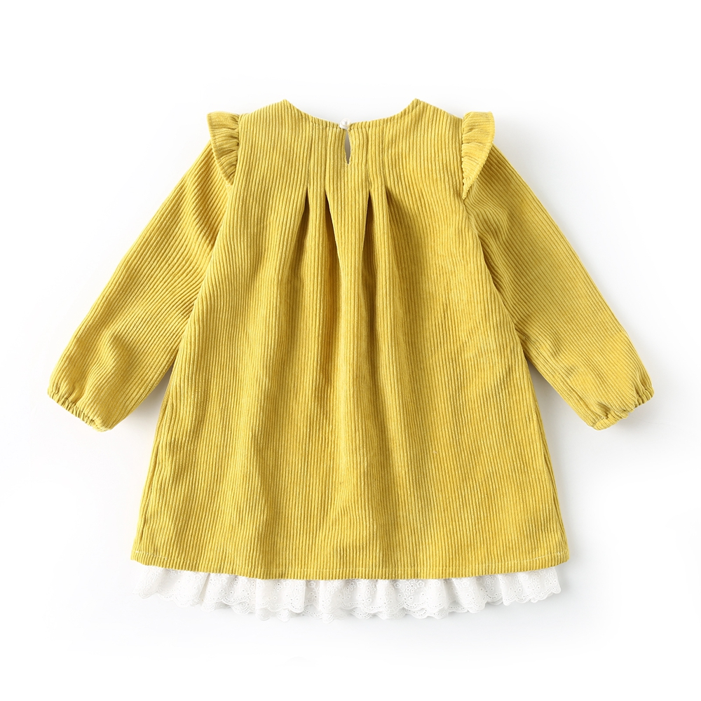 Dream Cradle Yellow Sweet dress with lace , Vintage corduroy dress Baby Girls spanish style Frock   Handmade Cotton Kids Dresses (3)