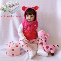 45cm/60cm Toy Baby Doll Reborn Baby Dolls Silicone Dolls Simulation Lifelike Baby Toddler Doll Pink Girls Toys For Girls