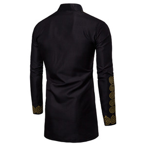 Image 2 - Camiseta de manga larga dorada para hombre, caftán musulmán, Kurta, estilo europeo