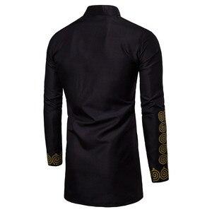 Image 2 - Czarny Uomo Hommes Kaftan Musulman Kurta indyjski odzież dla muzułmanów europejski styl muzułmańskie koszula mężczyzna złocenia z długim rękawem bluzki