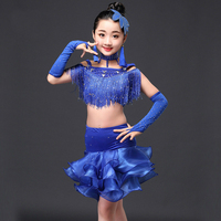 2017 Children S Latin Dance Costume Sequins Tassels Red Blue Pink Color Girls Latin Dance Salsa