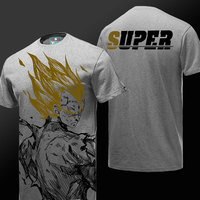 Quality Dragon Ball Tee Super Vegeta Son Goku T shirt anime DBZ Dragon Ball Z Gray Tee Shirt 3XL Boy Men Tshirt