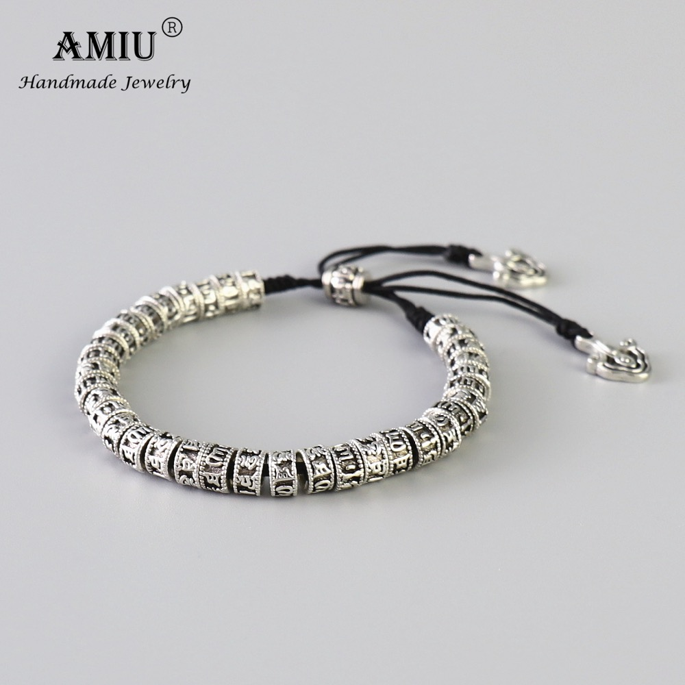 AMIU Tibetan Buddhism Alloy <font><b>Beads</b></font> <font><b>Bracelet</b></font> Six Words Mantra Handmade Black Knot Antiqued Metal Amulet <font><b>Beads</b></font> <font><b>Bracelet</b></font> For <font><b>Men</b></font> image