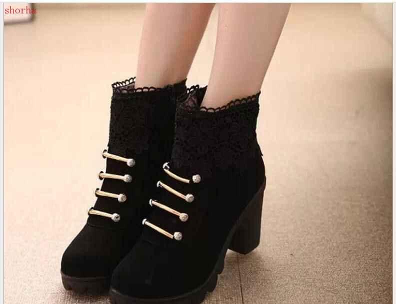 Hiver nouveau printemps automne femmes bottines en daim PU cuir court bottines à lacets bottes femmes avec des chaussures de fourrure