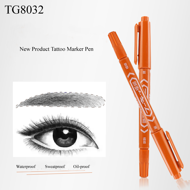 1pc New Arrival High Quality Hot Sell Double Head Microblading Eyebrow Skin Marker Pen For Eyebrow Microblading Permanent Makeup