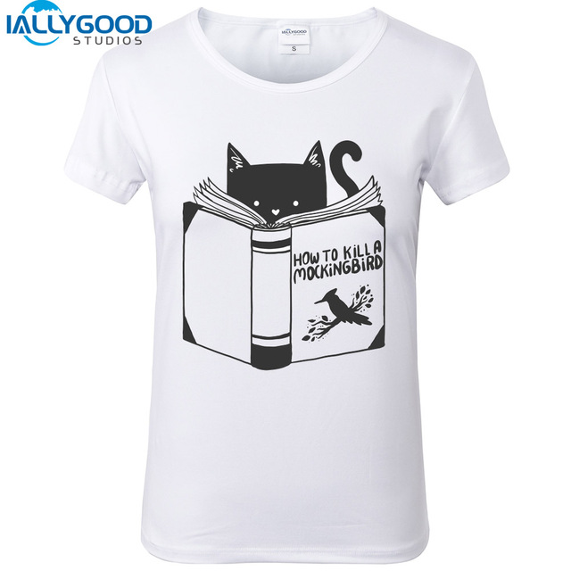 dfce3db8 New Summer Funny Cat T-Shirt How To Kill A Mockingbird Letter Print Design  Women