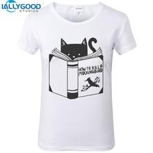 New Summer Funny Cat T-Shirt How To Kill A Mockingbird Letter Print Design Women White Tshirts Short Sleeve Slim Cute Tops S1037