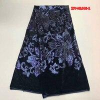 Zwart fluwelen stof fluwelen doek zijde met vol marineblauw fonkelende pailletten 5 yards/pcs sequin stof Dec-20-2017