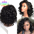 Short Bob Wigs For Black Women Synthetic Glueless Wavy Bob Synthetic Lace Front Wigs with Bangs Front Lace Wigs Synthetic Hair