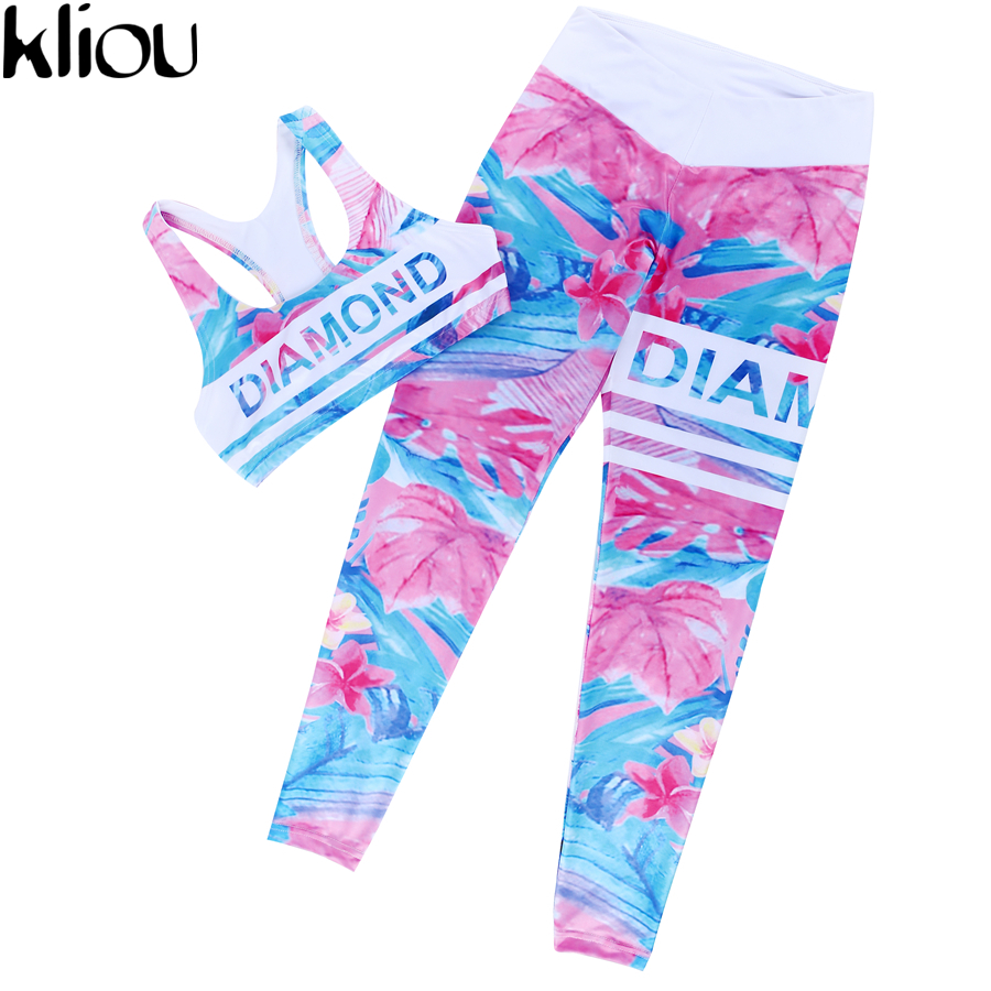 Kliou 2017 Retro Digital Printed letters workout Suit Fitness Tracksuit Women Set Female Sporting Bra Leggings 5