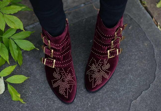 Newest Burgundy Velvet Women Ankle Boots Fashion Studded Flowers Ladies Buckle Boots Sexy Point Toe Female Knight Boots Med Heel цены онлайн