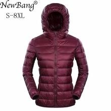 Newbang бренд Для женщин s пуховики ультра легкая зимняя куртка-пуховик Для женщин 5XL 6XL 7XL Plus Feather зима тонкие теплые ветровки