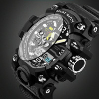 2016 New Brand SANDA Glod Military Army Men S Dight Watch S Shock Waterproof Outdoor Sport