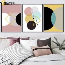 VERASUN Geometrické vzory Nástěnné výjevy Posters Reprodukce plátno Malba Abstraktní severské plakátové stěny Obrázky pro ložnice Decor