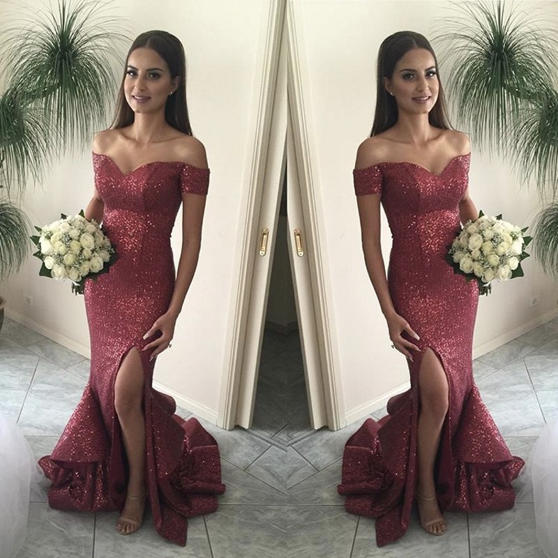 Newest Burgundy Off The Shoulder Side Slit Mermaid Sequins Bridesmaid Gowns Court Train Sequined Bridesmaid Dresses