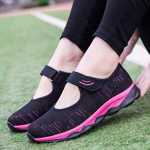 Image 2 - Женские кроссовки; Летняя повседневная обувь из сетчатого материала; Дышащие женские лоферы на плоской подошве; Удобная прогулочная обувь; Высокое качество; Zapatos