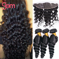 Indian Virgin Hair 3 Bundles Loose Wave With Lace Front Human Hair Wigs 13x4 Lace Frontal With Bundles Wet And Wavy With Frontal