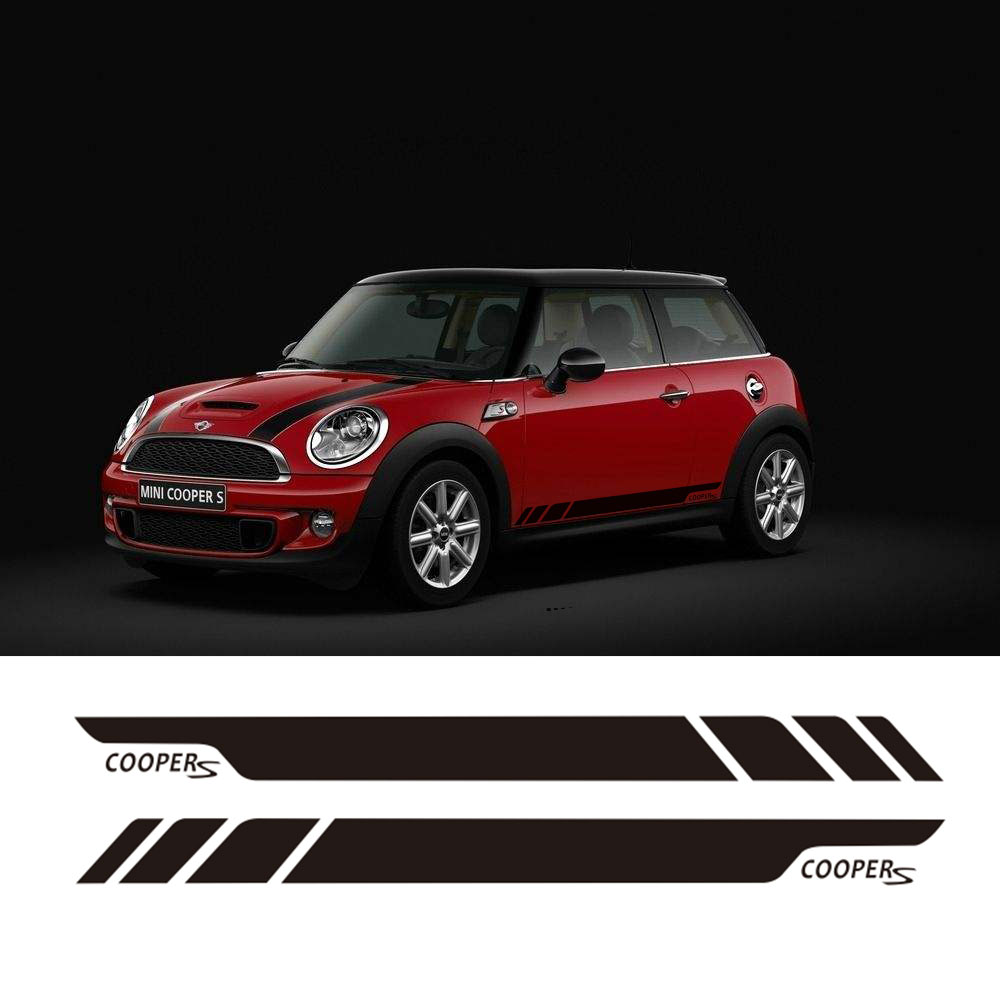 Pair of Side Stripe Decal Graphic Sticker Kit for Mini Cooper S 2-Door R56 R50 R52 R57 R58 R59 Side Skirt Sticker aliauto car styling side door sticker and decals accessories for mini cooper countryman r50 r52 r53 r58 r56