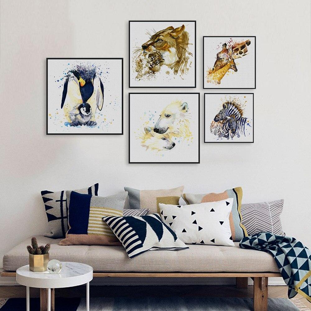 수채화 기린 얼룩말 말 사자 동물 가족 사랑 A4 큰 예술 인쇄 포스터 벽 그림 캔버스 프레임 홈 장식