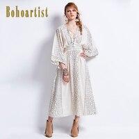 Bohoartist Autumn Maxi Dress Batwing Sleeve Geometric Print V Neck Strap Up Tassel High Waist Lady