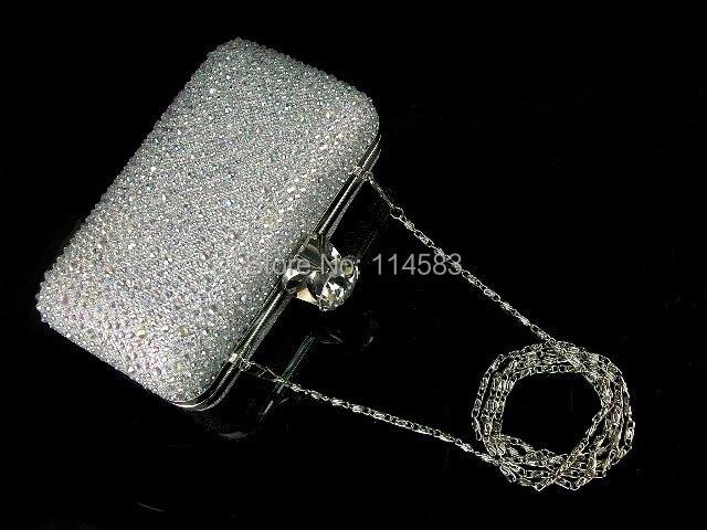 8613-S Silver WhiteAB Crystal Lady Fashion Wedding Bridal Party Night Evening purse clutch bag handbag box case IN FREE SHIPPING