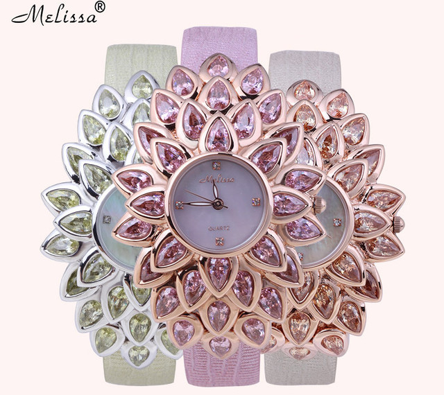 Bold Design MELISSA Exaggerated Blooming Flower Watches Vogue Girls Dress Wrist watch Leather Crystals Feminino Montre F12213