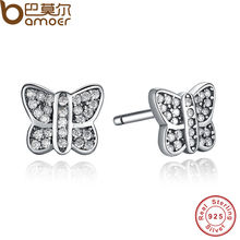 Presents 925 Sterling Silver Sparkling Butterfly Stud Earrings Clear CZ Compatible with Jewelry Special Store PAS411