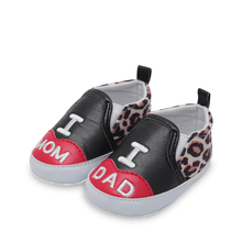Four Seasons New 0-1-2 Years Old I Love Mom And Dad Leopard Baby Toddler Shoes Soft Bottom Boy Girl  First Walker