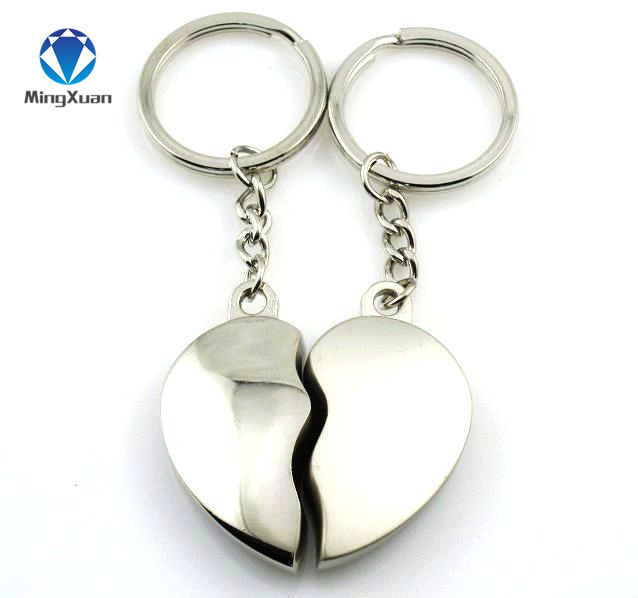 MINGXUAN 1Pair Couple Keychain Key Silver Plated Korea Romantic Lovers Love Key Chain Souvenirs Valentine's Day Gift C411