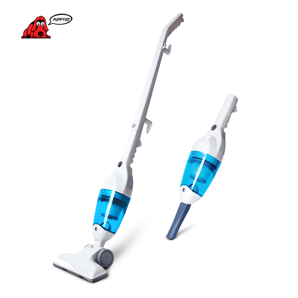 PUPPYOO Low Noise Mini Home Rod Vacuum Cleaner Portable Dust Collector Home Aspirator Handheld Vacuum Catcher WP3006 Blue color ultra quiet push rod vacuum cleaner portable dual use handheld dust collector mites killing device high power home aspirator