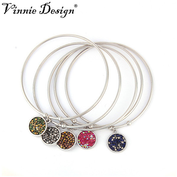 Vinnie Design Jewelry 2018 New Expandable Charm Bracelet Silver Plated Bangles Bracelets Wire Bangle 10pcs