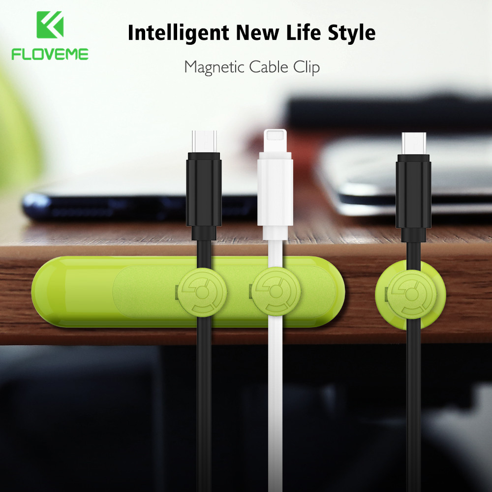 FLOVEME Cable Winder Earphone Cable Wire Storage ABS Plastic Magnetic Charger Cable Clip Hub for MP3 P4 Mouse Earphone Organizer