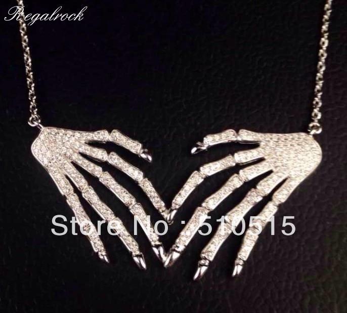 Regalrock Crystal Anatomical Human Hand Bone Anatomy Skeleton Pendant Necklace