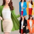 2016 Women Casual Blouse Long Sleeve Cardigan Knit Knitwear Sweater Coat Outwear Tops Wholesale