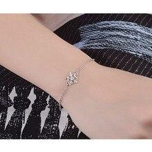LUKENI Trendy Snowflake Silver Women Bracelets Jewelry Fashion Girl 925 Anklets Bracelet Accessories Christmas Lady Gift