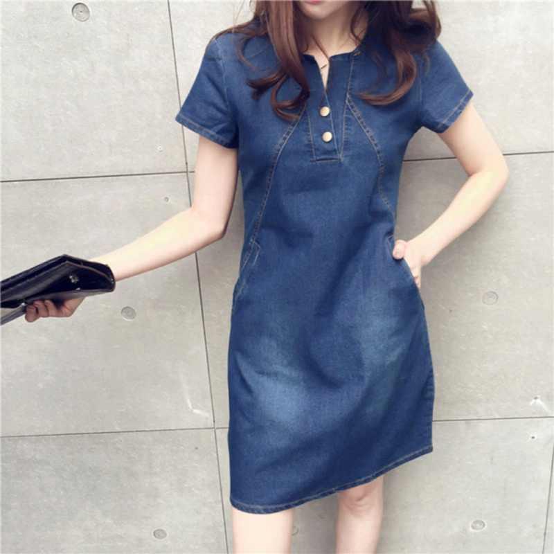Moda kadın Elbise Seksi Bayan yaz elbisesi Katı Bayan Kısa Kollu Gevşek Denim Sundress O-boyun Kadın Casual Mini Elbise