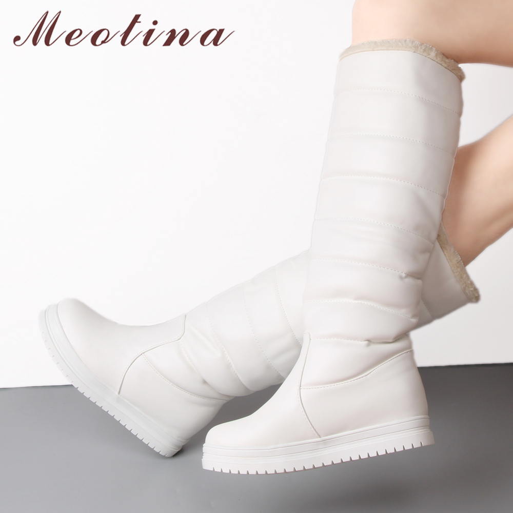 58863a382 Detalle Comentarios Preguntas sobre Meotina rodilla botas mujeres  plataforma botas de invierno botas de felpa larga caliente ronda Toe  señoras Zapatos negro ...