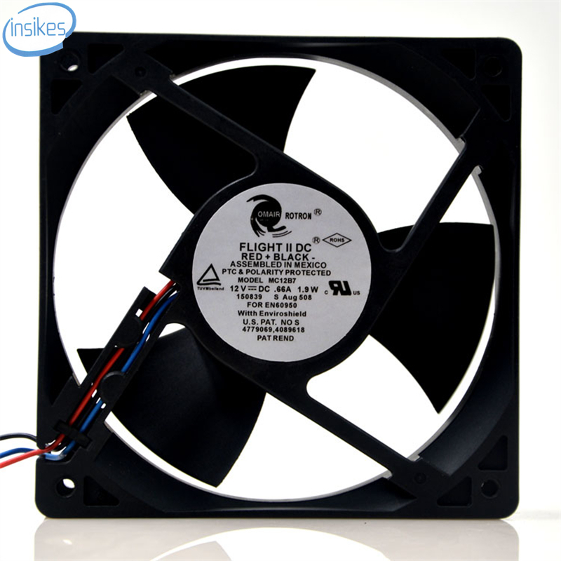 MC12B7 Double Ball Bearing Cooling Fan DC 12V 0.66A 1.9W 12032 12cm 120*120*32mm 3 Wires original delta afb0912shf 9032 9cm 12v 0 90a dual ball bearing cooling fan
